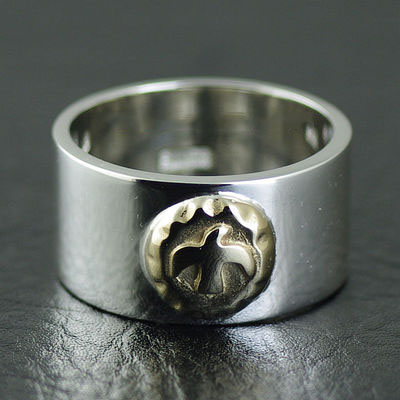 Japan import, GORO design Golden sun tolem Indiana style silver Ring
