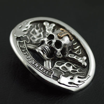 Japan import, bone skull 925 Sterling Silver leather buckle