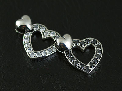 Japan import, JUSTIN DAVIS fine Female Design set with diamonds hearts Gothic Silver pendant