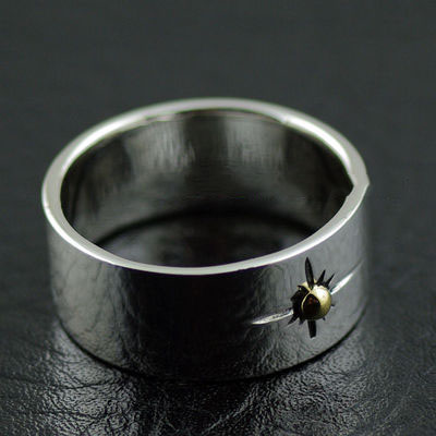 Japan import, wide version GORO design Golden sun Indiana style silver Ring