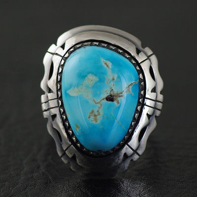 Japan import, Indiana style American turquoise 925 Sterling Silver Ring