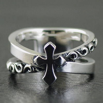 Japan import, cross ring surface interception double circle Silver Gothic Ring