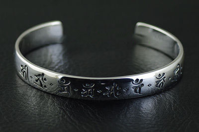 Japan import, Monju character script Gothic Silver bangle