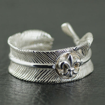 Japan import, set flower anchor 925 Sterling Silver feather open Ring
