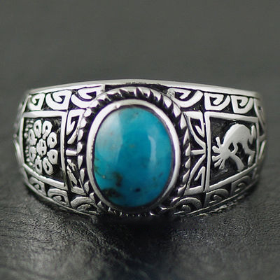 Japan import, Original good vibrations Indiana style set Turquoise Silver Gothic Ring