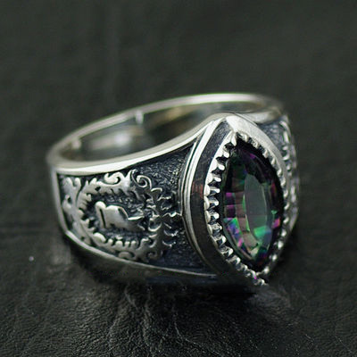 Japan import, 925 Sterling Silver Original good vibrations new colored stones Silver Gothic Ring