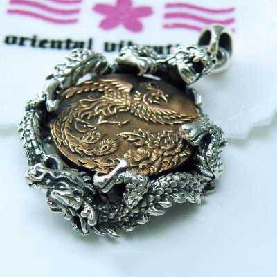 Original Oriental vibrations silver copper mix dragon and Phoenix 925 Sterling Silver pendant