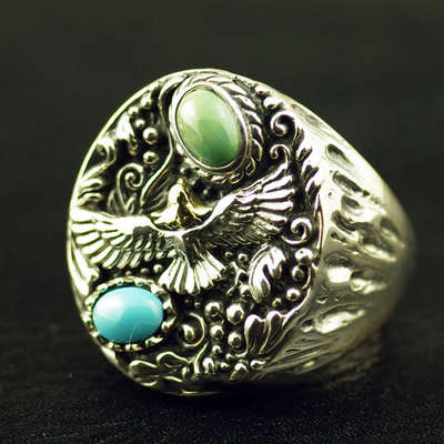 Japan import, Original GV new Indiana style Eagle Turquoise Silver Gothic Ring