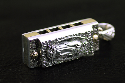 Japan import, Original GV new Four-hole octave 925 Sterling Silver Harmonica pendant