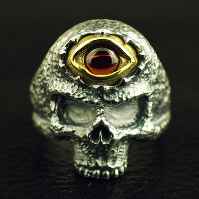 Japan import, Gothic Style 925 Sterling Silver spiritual eye skeleton Silver Gothic Ring