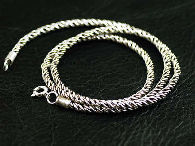 Japan import, male design Retro style 925 Sterling Silver twisted rope pattern necklace