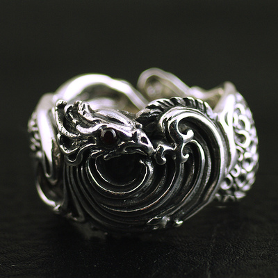 Japan import, Retro style 925 Sterling Silver Nirvana fire Phoenix Silver Gothic Ring