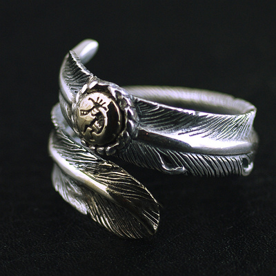 Japan import, Original GV new Indiana guardian double color feather open Silver Gothic Ring