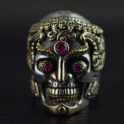 Japan import, silver copper mix design strong presences Male design Tantric skull 925 Sterling Silver Ring