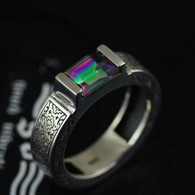 Japan import, Original GV new angular shape colored stones Male design Silver Gothic Ring