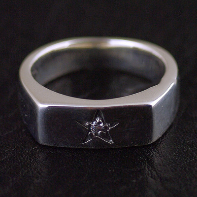 Japan import, 925 Sterling Silver simple star little angular Ring