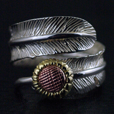 Japan import, 925 Sterling Silver Original GV new daisy feather Ring