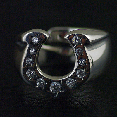 Japan import, Unisex designed with opening 925 Sterling Silver Lucky horse shoe Ring