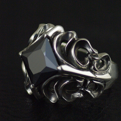 Japan import, four corners black diamond Male design Silver Gothic Ring