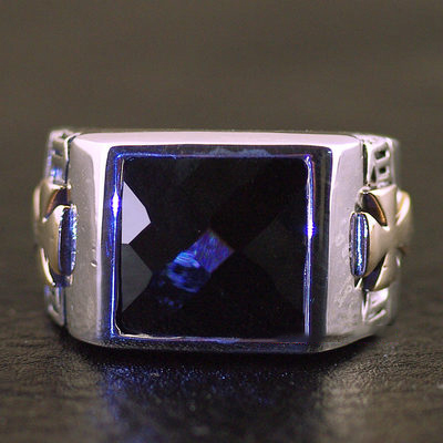Japan import, Male Design black princess cut ring surface 925 Sterling Silver Gothic Ring