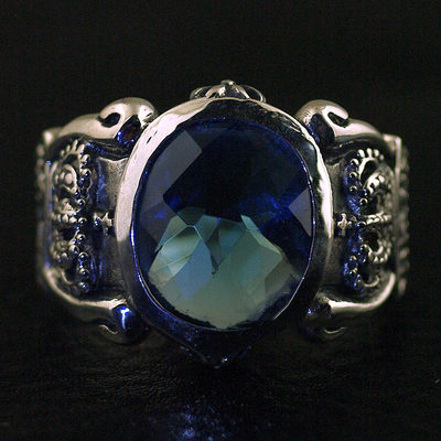 Japan import, JUSTIN DAVIS design transparent blue diamond ring surface Silver Gothic Ring