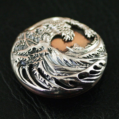 Japan import, silver copper mix waves, mount Fuji and wind clip buckle clip