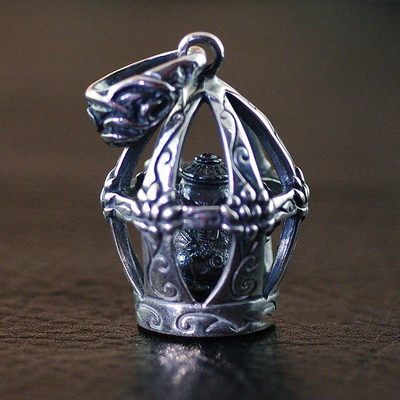 Japan import, Retro style 925 Sterling Silver buddha elephant god fortune elephant Shrines pendant