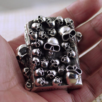Japan import, Motorcycle party punk 925 Sterling Silver skull Zippo gas lighter