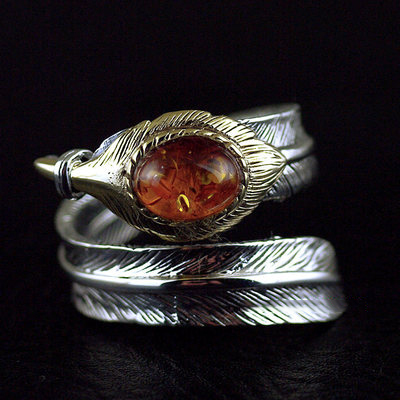 Japan import, Original 925 Sterling Silver GV new set Amber open feather Ring