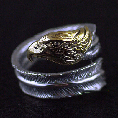 Japan import, Original GV new Golden eagle head feather open Silver Gothic Ring