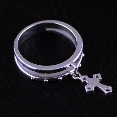 Japan import, Female Design double level design 925 Sterling Silver cross pendant Ring