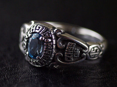 Japan import, set with blue topaz stone fine Silver Gothic Ring