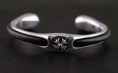 Japan import, chrome style design 925 Sterling Silver set leather Gothic Silver male version bangle
