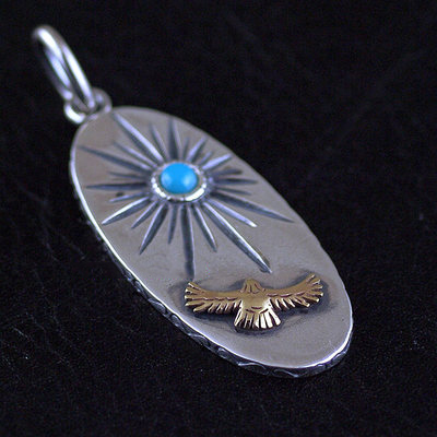 Japan import, Indiana style set Turquoise sun Eagle 925 Sterling Silver pendant