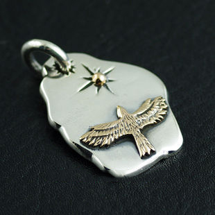 Japan import, Indiana GORO style 925 Sterling Silver Eagle pendant