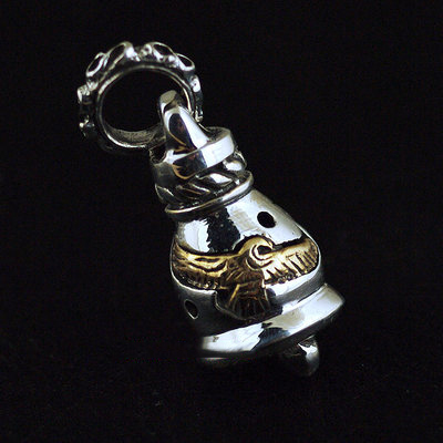 Japan import, Indiana style 925 Sterling Silver double Eagle bell Gothic Silver pendant