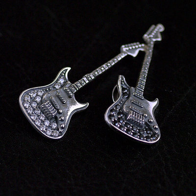 Japan import, Gothic Style Gothic Style 925 Sterling Silver set with diamonds minature guitar pendant