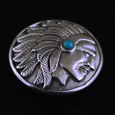 Japan import, Indian chief long drawing 925 Sterling Silver set Turquoise clip