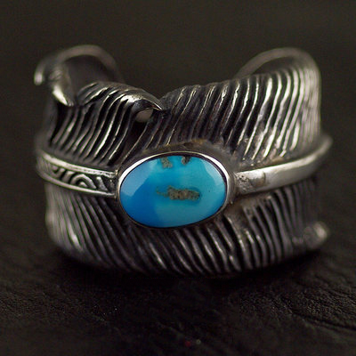 Japan import, 925 Sterling Silver set America green Turquoise Takahashi Goro GORO style open feather Ring