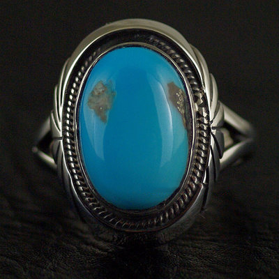 Japan import, Indiana style America oval green Turquoise ring surface 925 Sterling Silver Ring