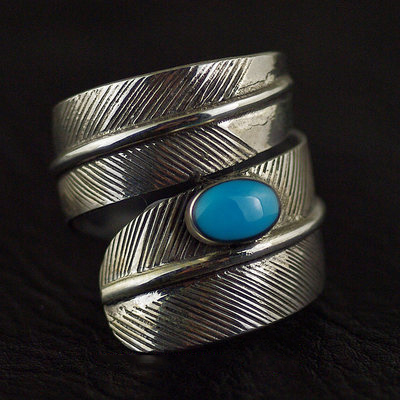 Japan import, natural American turquoise Indiana style Sessile feather design Silver Gothic Ring