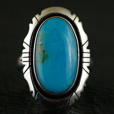 Japan import, Female Design Indiana style American turquoise 925 Sterling Silver Ring