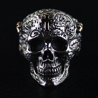 Japan import, Gothic Silver Male Design skull blood cross sealed skeleton 925 Sterling Silver Ring