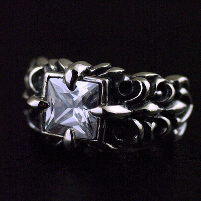 Japan import, four corners ring surface flower anchor pattern Male design Silver Gothic Ring