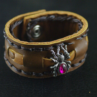 Japan import, Unisex 925 Sterling Silver Spider accessories leather bangle Bracelet