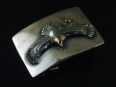 origin Japan import, GOROIndiana style 925 Sterling Silver leather buckle