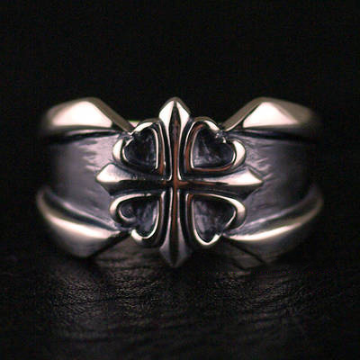 Japan import, 925 Sterling Silver Retro style straight cross Silver Gothic Ring