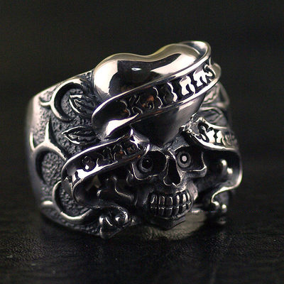 Japan import, 925 Sterling Silver Original ED HARDY origin Skeleton ring