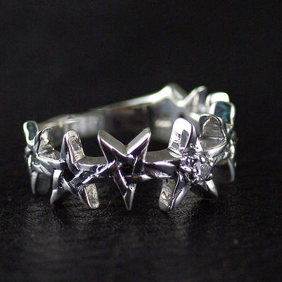Japan import, Gothic Style 925 Sterling Silver little five star design Silver Gothic Ring