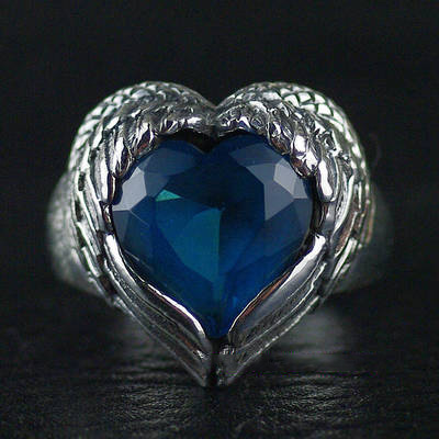Japan import, Gothic Style 925 Sterling Silver angel with hearts Silver Gothic Ring